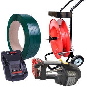 Batériová páskovačka MB620 PET viazacia páska + odvíjač pásky + batéria + nabíjačka