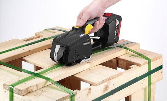 Messersi MB620 ručný páskovač 12-16mm Akumulátorový páskovač na PET a PP viazaciu pásku s batériou a nabíjačkou 4